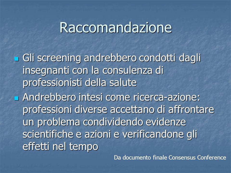 Raccomandazione Gli screening andrebbero condotti dagli insegnanti con la consulenza di professionisti della salute Gli screening andrebbero condotti