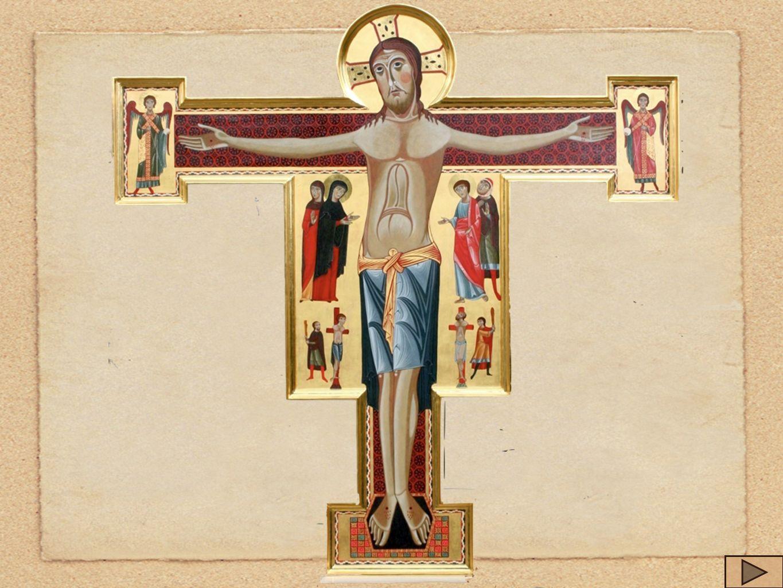 Sotto il corpo di Gesù, la croce è arricchita di un drappo rosso e blu con cerchi e piccoli rombi crociati.