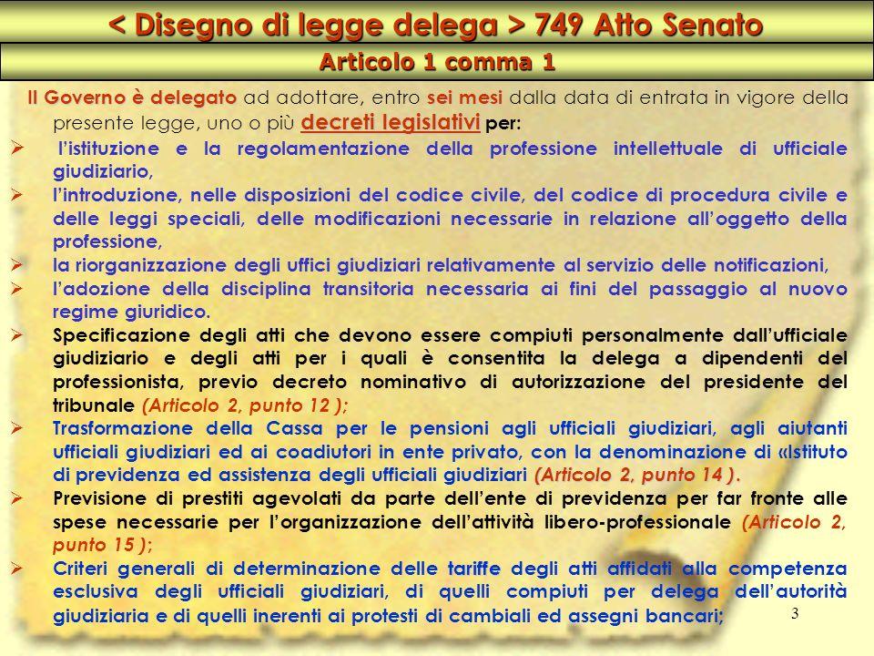 3 < Disegno di legge delega > 749 Atto Senato Articolo 1 comma 1 Il Governo è delegato ad adottare, entro s ss sei mesi dalla data di entrata in vigor