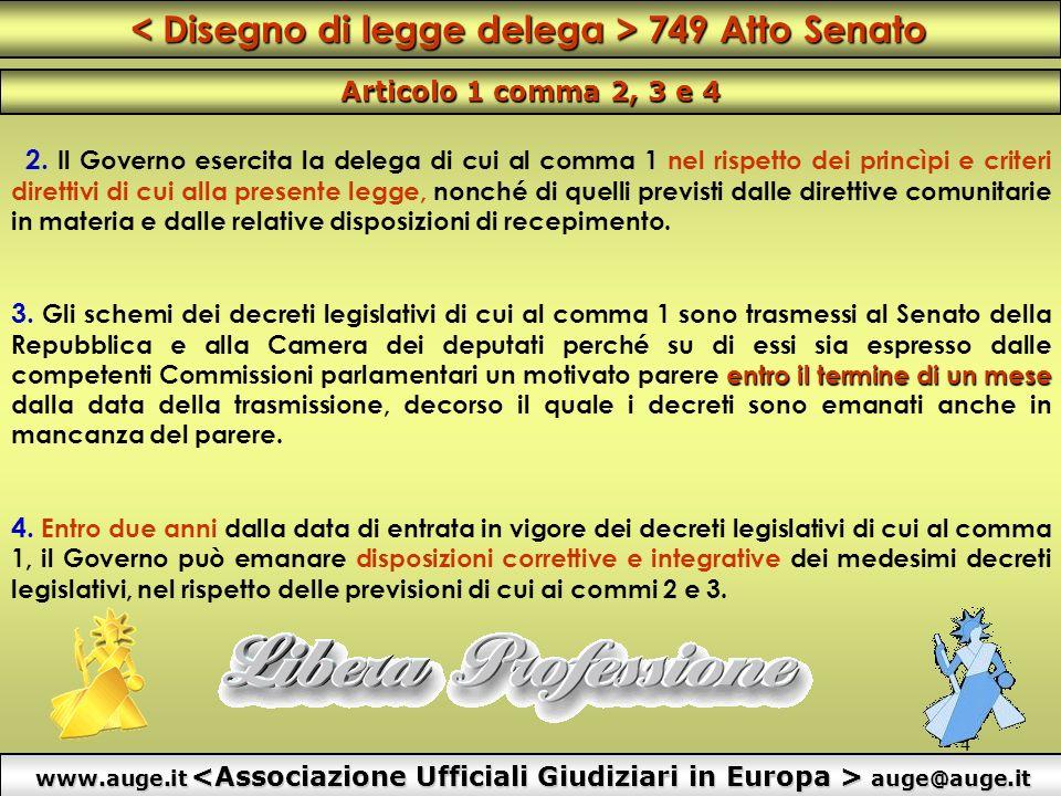 4 2. Il Governo esercita la delega di cui al comma 1 nel rispetto dei princìpi e criteri direttivi di cui alla presente legge, nonché di quelli previs