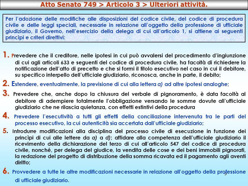 9 1. P 1. Prevedere che il creditore, nelle ipotesi in cui può avvalersi del procedimento dingiunzione di cui agli articoli 633 e seguenti del codice