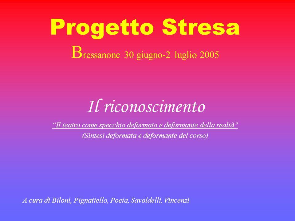 Progetto Stresa B ressanone 30 giugno-2 luglio 2005 Il riconoscimento Il teatro come specchio deformato e deformante della realtà (Sintesi deformata e