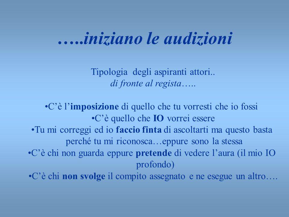 …..iniziano le audizioni Tipologia degli aspiranti attori.. di fronte al regista….. Cè limposizione di quello che tu vorresti che io fossi Cè quello c