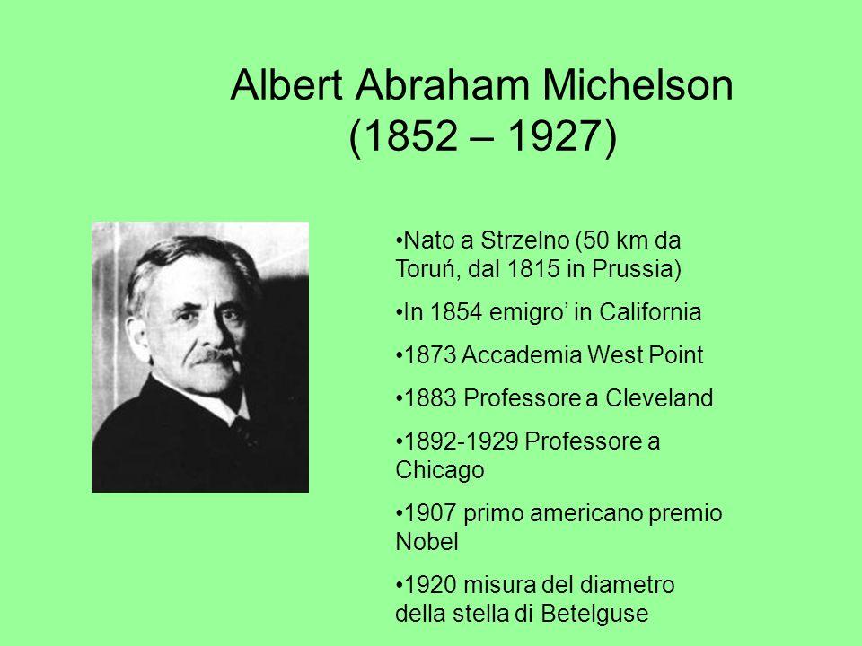 Albert Abraham Michelson (1852 – 1927) Nato a Strzelno (50 km da Toruń, dal 1815 in Prussia) In 1854 emigro in California 1873 Accademia West Point 18
