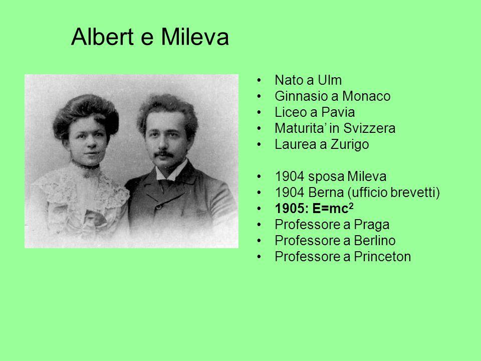 Albert e Mileva Nato a Ulm Ginnasio a Monaco Liceo a Pavia Maturita in Svizzera Laurea a Zurigo 1904 sposa Mileva 1904 Berna (ufficio brevetti) 1905: