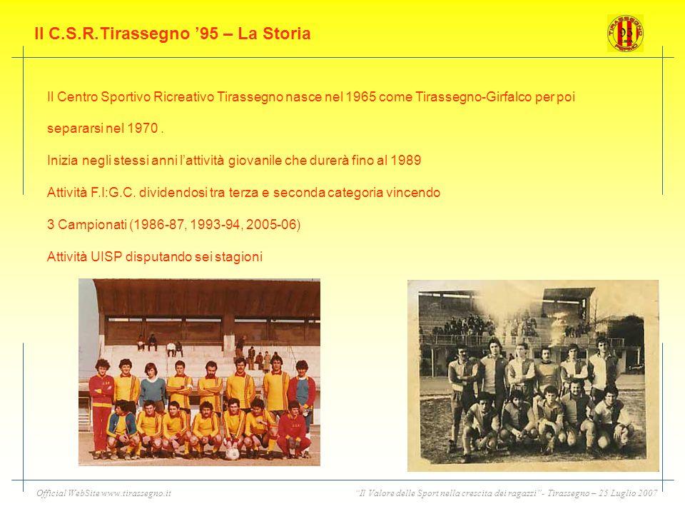 Il Valore delle Sport nella crescita dei ragazzi- Tirassegno – 25 Luglio 2007Official WebSite www.tirassegno.it Il C.S.R.Tirassegno 95 – La Storia Il Centro Sportivo Ricreativo Tirassegno nasce nel 1965 come Tirassegno-Girfalco per poi separarsi nel 1970.