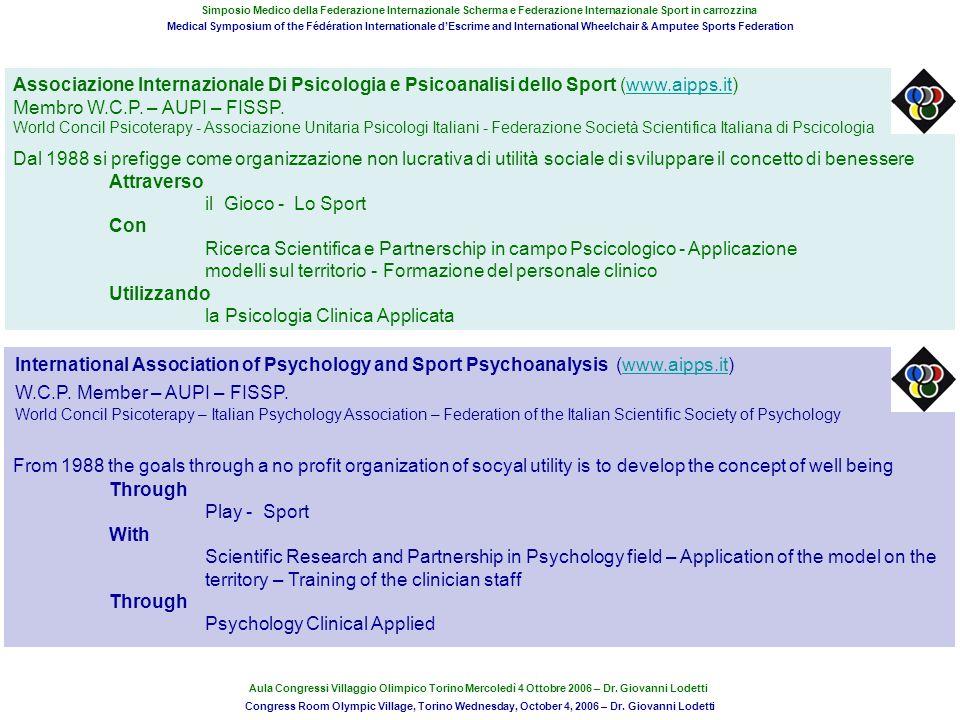 Associazione Internazionale Di Psicologia e Psicoanalisi dello Sport (www.aipps.it)www.aipps.it Membro W.C.P. – AUPI – FISSP. World Concil Psicoterapy