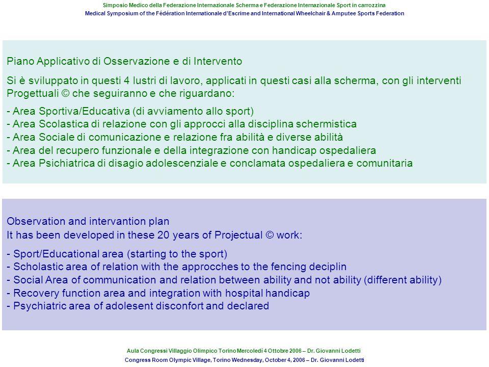 Piano Applicativo di Osservazione e di Intervento Si è sviluppato in questi 4 lustri di lavoro, applicati in questi casi alla scherma, con gli interve
