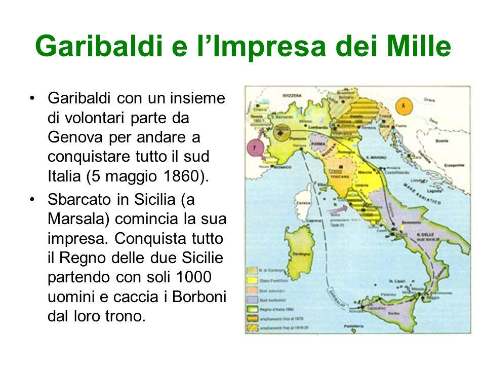 Garibaldi con un insieme di volontari parte da Genova per andare a conquistare tutto il sud Italia (5 maggio 1860).