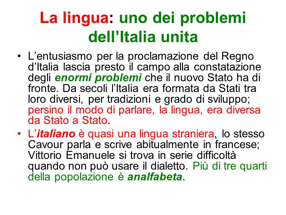 La lingua: uno dei problemi dellItalia unita Lentusiasmo per la proclamazione del Regno dItalia lascia presto il campo alla constatazione degli enormi problemi che il nuovo Stato ha di fronte.