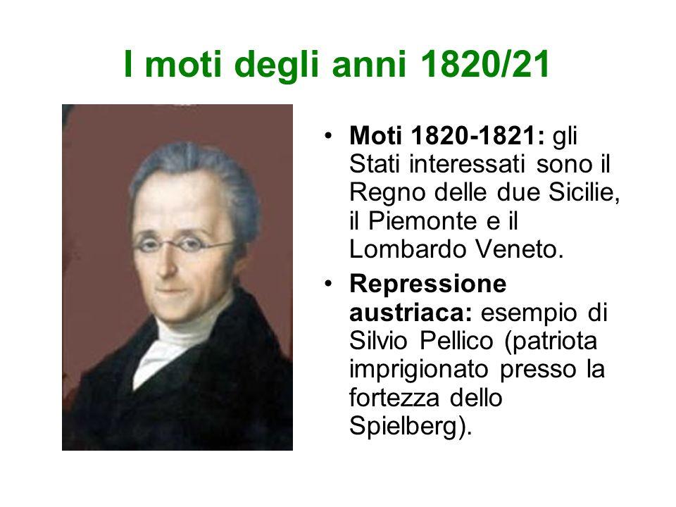 I moti degli anni 1820/21 Moti 1820-1821: gli Stati interessati sono il Regno delle due Sicilie, il Piemonte e il Lombardo Veneto.