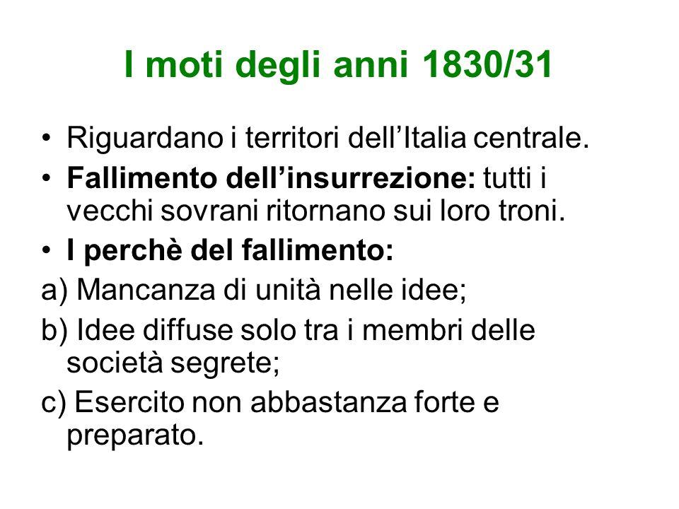 I moti degli anni 1830/31 Riguardano i territori dellItalia centrale.