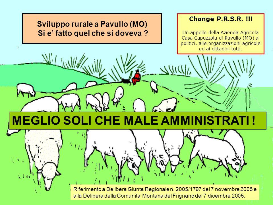 Con la delibera citata in premessa, per lo sviluppo agricolo sono stati attribuiti alla Comunità Montana del Frignano (Pavullo, Mo) 120.801 euro.