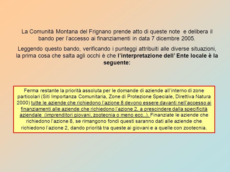 La Provincia di Reggio ha fatto una graduatoria standard con importanza prevalente alle azioni, che assomiglia molto a quella della Comunità Montana del Frignano.