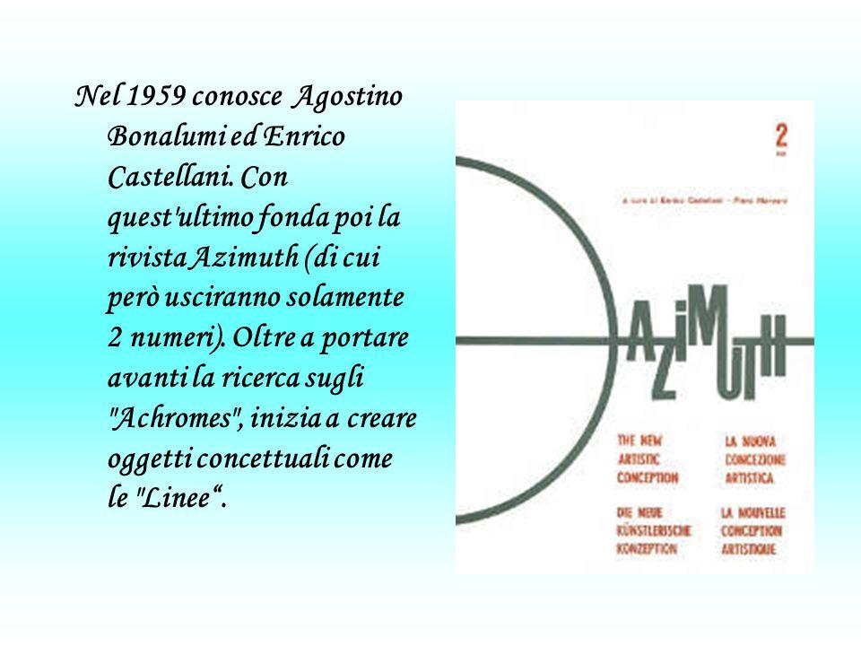 Nel 1959 conosce Agostino Bonalumi ed Enrico Castellani.