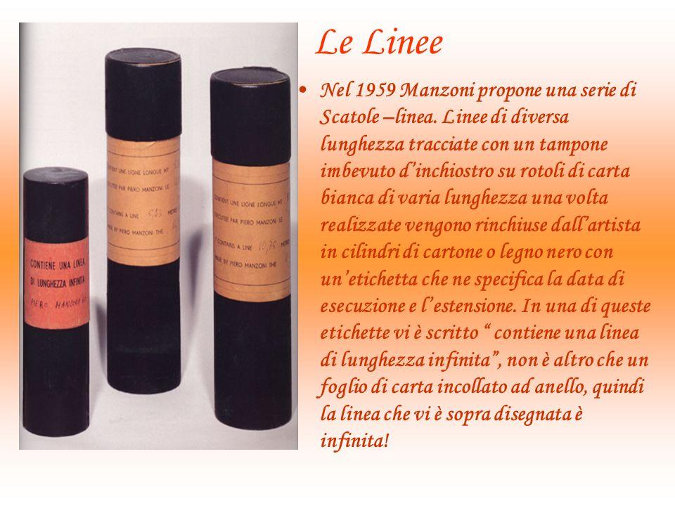 Le Linee Nel 1959 Manzoni propone una serie di Scatole –linea.