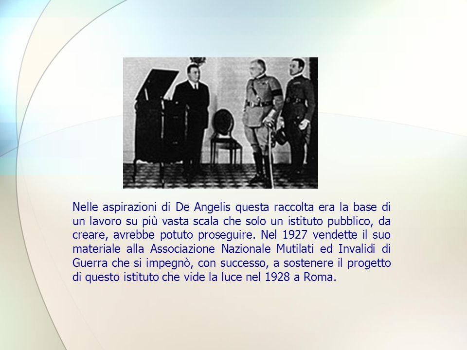 Nelle aspirazioni di De Angelis questa raccolta era la base di un lavoro su più vasta scala che solo un istituto pubblico, da creare, avrebbe potuto proseguire.
