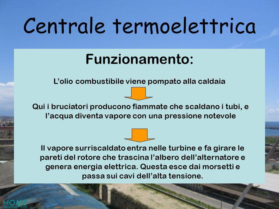 Centrale termoelettrica Funzionamento: Lolio combustibile viene pompato alla caldaia Qui i bruciatori producono fiammate che scaldano i tubi, e lacqua