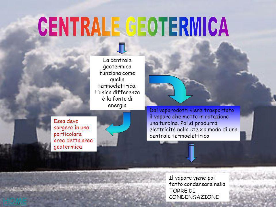 La centrale geotermica funziona come quella termoelettrica. Lunica differenza è la fonte di energia Dai vaporodotti viene trasportato il vapore che me