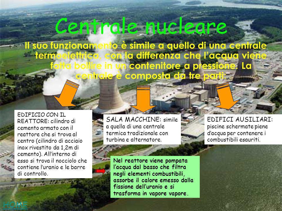 Centrale nucleare Il suo funzionamento è simile a quello di una centrale termoelettrica, con la differenza che lacqua viene fatta bollire in un conten