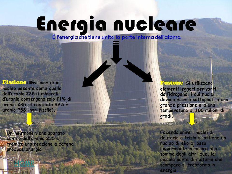 Energia nucleare È lenergia che tiene unita la parte interna dellatomo. Fusione : Si utilizzano elementi leggeri derivanti dallidrogeno, i cui nuclei