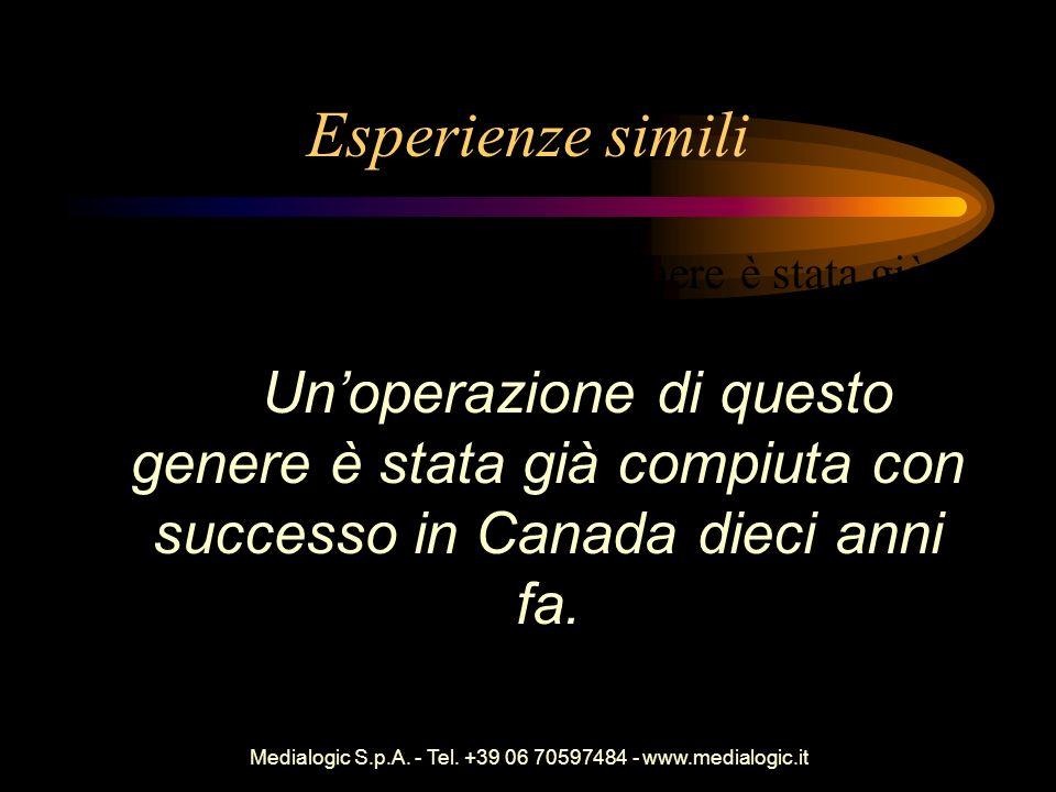 Medialogic S.p.A. - Tel. +39 06 70597484 - www.medialogic.it Esperienze simili Unoperazione di questo genere è stata già compiuta con successo in Cana