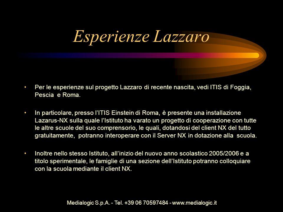 Medialogic S.p.A. - Tel. +39 06 70597484 - www.medialogic.it Esperienze Lazzaro Per le esperienze sul progetto Lazzaro di recente nascita, vedi ITIS d