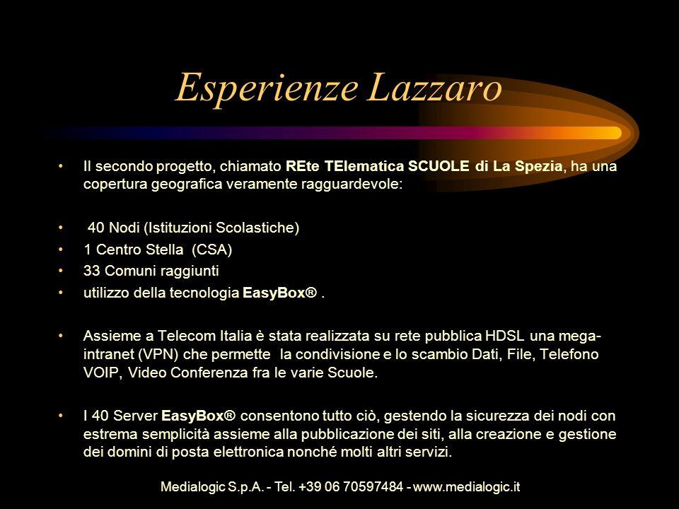 Medialogic S.p.A. - Tel. +39 06 70597484 - www.medialogic.it Esperienze Lazzaro Il secondo progetto, chiamato REte TElematica SCUOLE di La Spezia, ha
