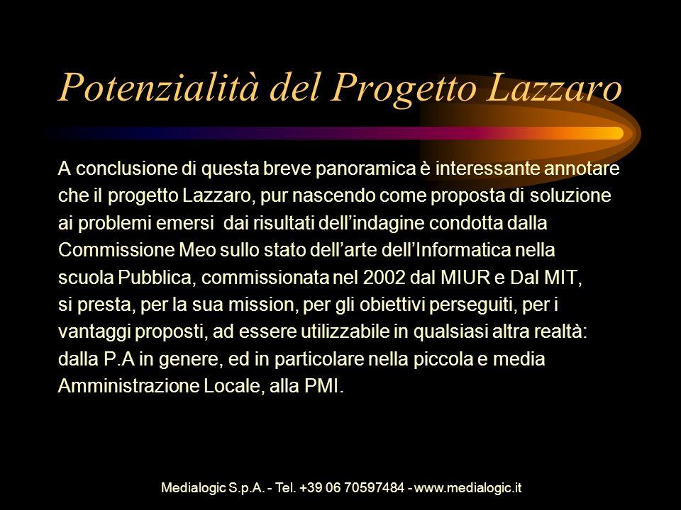 Medialogic S.p.A. - Tel. +39 06 70597484 - www.medialogic.it Potenzialità del Progetto Lazzaro A conclusione di questa breve panoramica è interessante