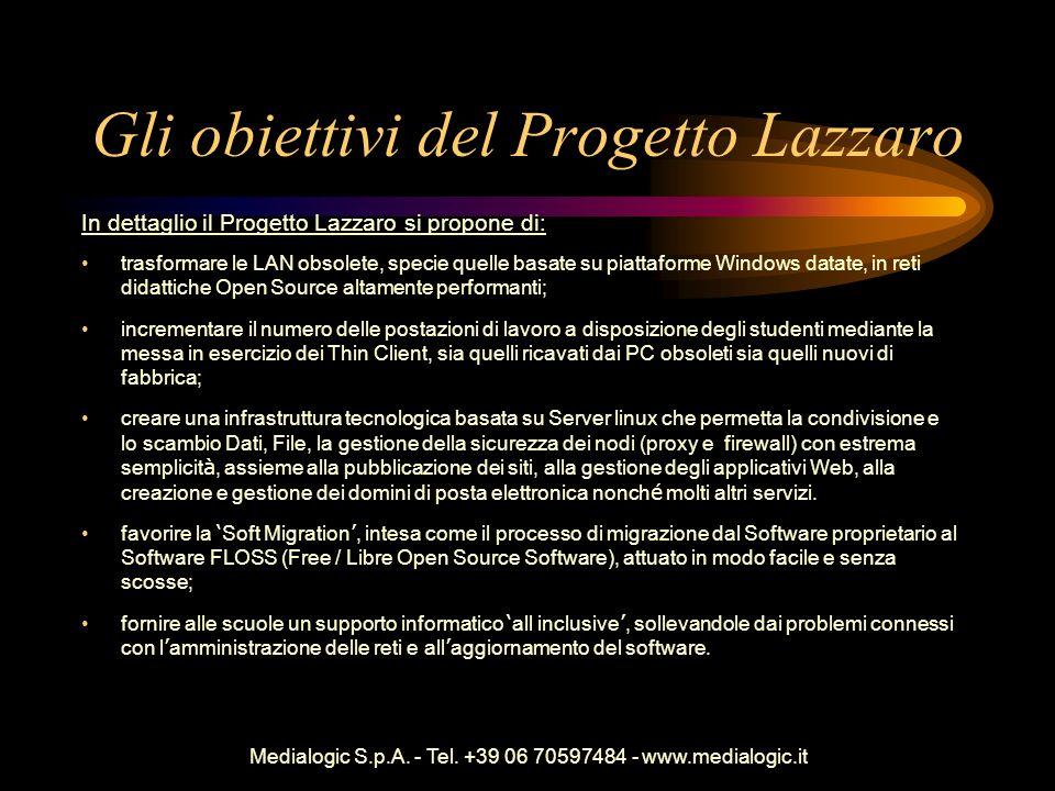 Medialogic S.p.A. - Tel. +39 06 70597484 - www.medialogic.it Gli obiettivi del Progetto Lazzaro In dettaglio il Progetto Lazzaro si propone di: trasfo