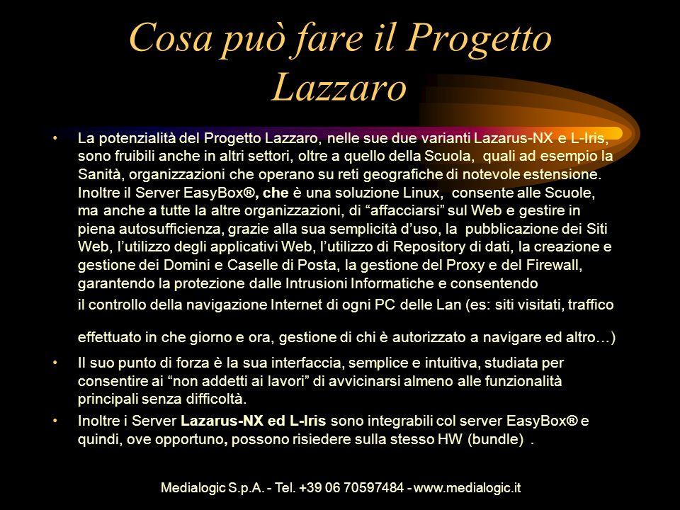 Medialogic S.p.A. - Tel. +39 06 70597484 - www.medialogic.it Cosa può fare il Progetto Lazzaro La potenzialità del Progetto Lazzaro, nelle sue due var