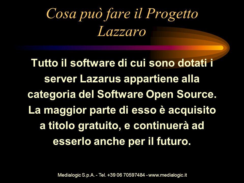 Medialogic S.p.A. - Tel. +39 06 70597484 - www.medialogic.it Cosa può fare il Progetto Lazzaro Tutto il software di cui sono dotati i server Lazarus a