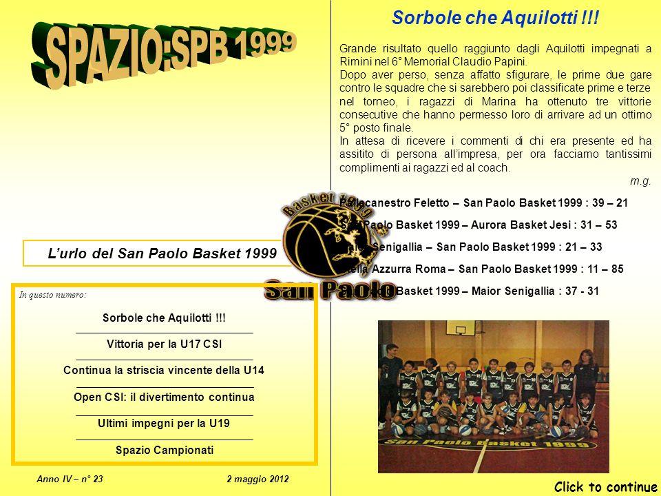 Lurlo del San Paolo Basket 1999 Anno IV – n° 23 2 maggio 2012 In questo numero: Sorbole che Aquilotti !!.