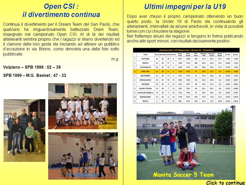 Open CSI : il divertimento continua Continua il divertimento per il Dream Team del San Paolo, che qualcuno ha irriguardosamente battezzato Dram Team, impegnato nel campionato Open CSI.