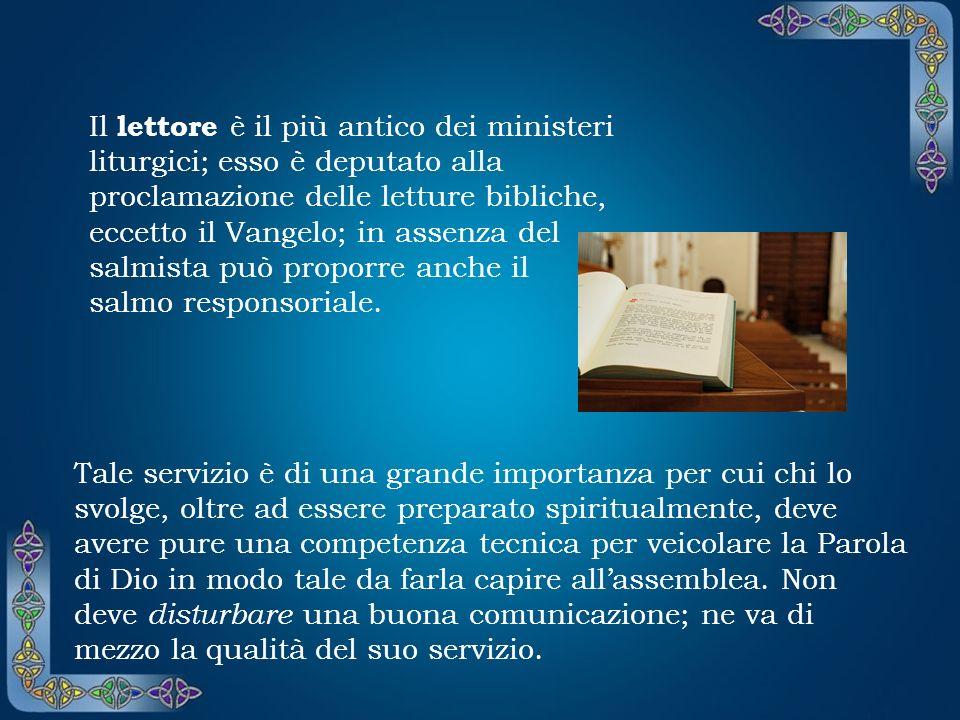 L accolito è istituito per il servizio allaltare collaborando con il presbitero o il diacono nel preparare la mensa. Come ministro straordinario può d