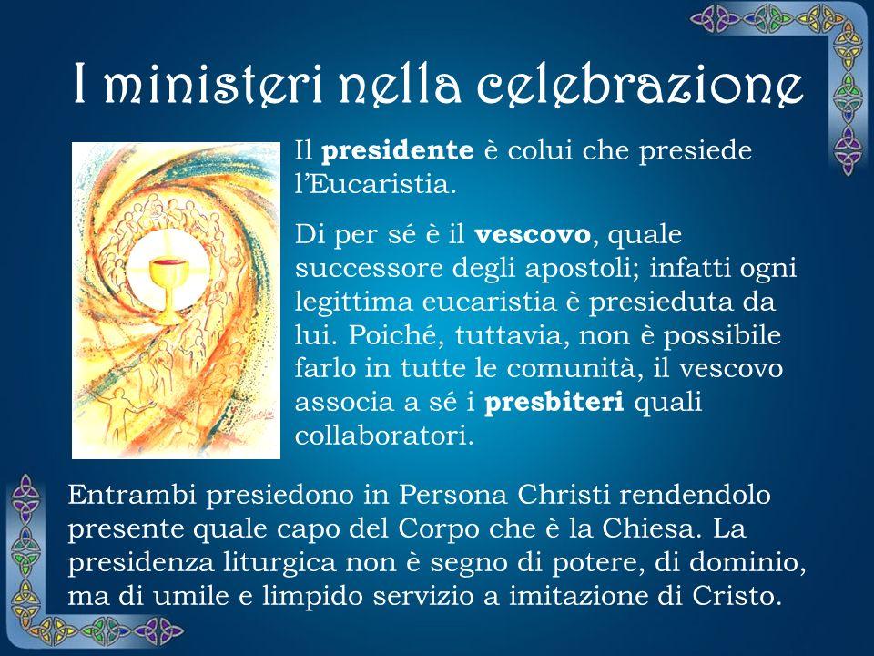 I ministeri nella celebrazione Il presidente è colui che presiede lEucaristia.