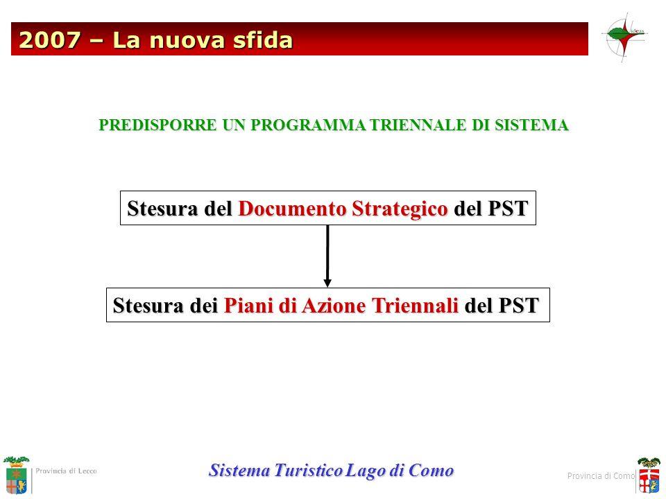 2007 – La nuova sfida Sistema Turistico Lago di Como Provincia di Como Stesura del Documento Strategico del PST Stesura dei Piani di Azione Triennali
