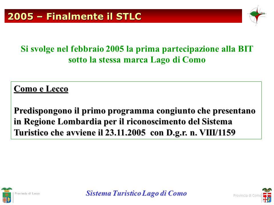 2005 – Finalmente il STLC Sistema Turistico Lago di Como Provincia di Como Si svolge nel febbraio 2005 la prima partecipazione alla BIT sotto la stess