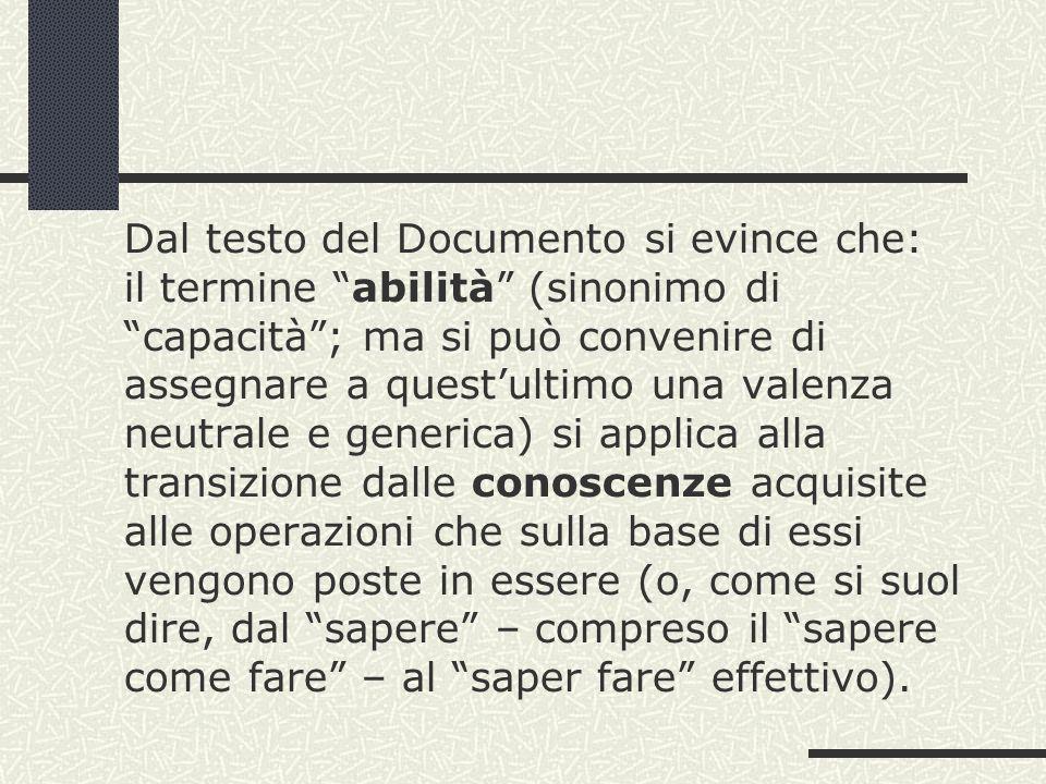 Dal testo del Documento si evince che: il termine abilità (sinonimo di capacità; ma si può convenire di assegnare a questultimo una valenza neutrale e