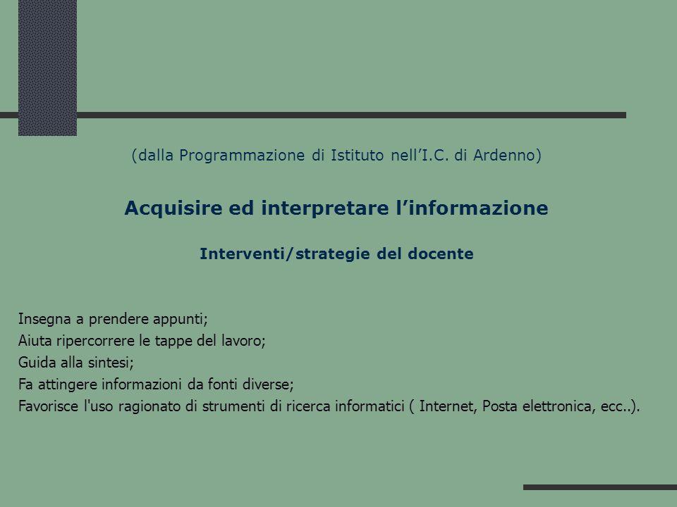 (dalla Programmazione di Istituto nellI.C. di Ardenno) Acquisire ed interpretare linformazione Interventi/strategie del docente Insegna a prendere app