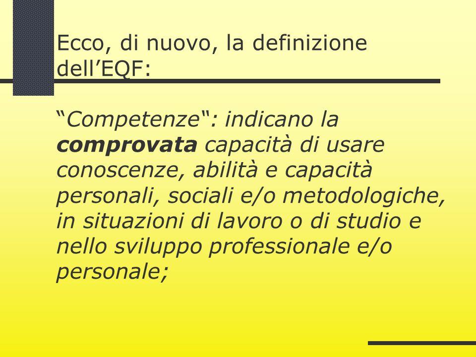 Ecco, di nuovo, la definizione dellEQF:Competenze: indicano la comprovata capacità di usare conoscenze, abilità e capacità personali, sociali e/o meto