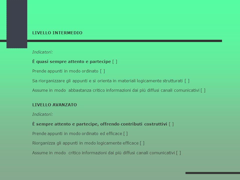 LIVELLO INTERMEDIO Indicatori: È quasi sempre attento e partecipe [ ] Prende appunti in modo ordinato [ ] Sa riorganizzare gli appunti e si orienta in