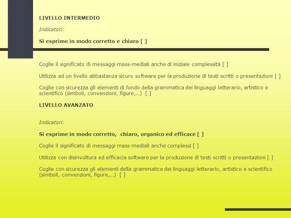 LIVELLO INTERMEDIO Indicatori: Si esprime in modo corretto e chiaro [ ] Coglie il significato di messaggi mass-mediali anche di iniziale complessità [