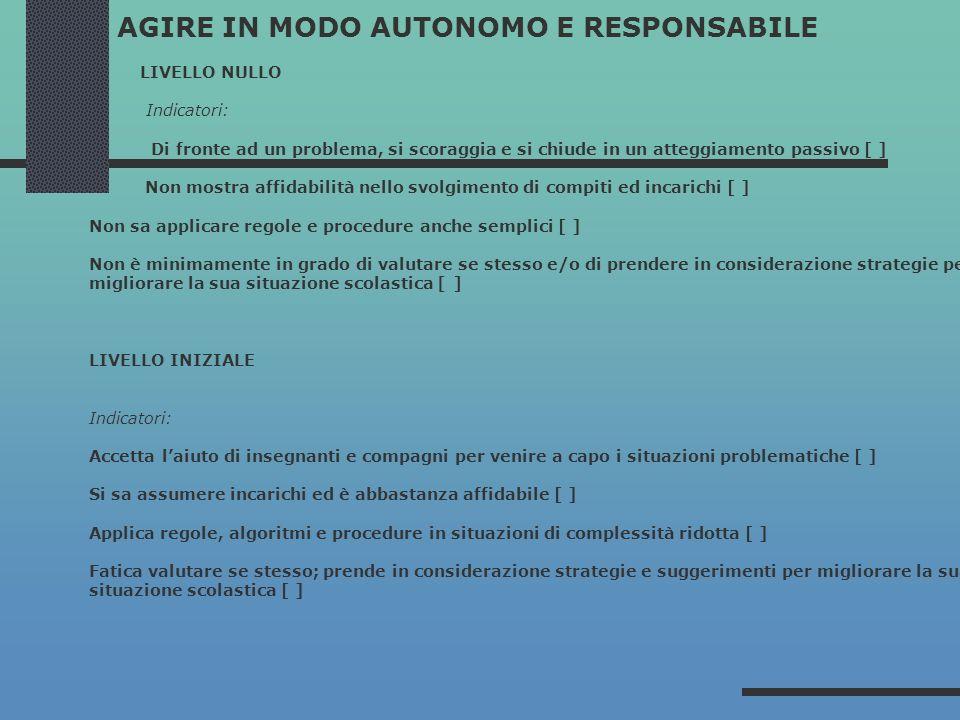 AGIRE IN MODO AUTONOMO E RESPONSABILE LIVELLO NULLO Indicatori: Di fronte ad un problema, si scoraggia e si chiude in un atteggiamento passivo [ ] Non