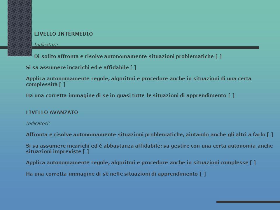LIVELLO INTERMEDIO Indicatori: Di solito affronta e risolve autonomamente situazioni problematiche [ ] Si sa assumere incarichi ed è affidabile [ ] Ap