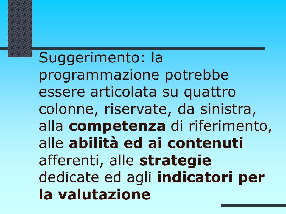 Suggerimento: la programmazione potrebbe essere articolata su quattro colonne, riservate, da sinistra, alla competenza di riferimento, alle abilità ed