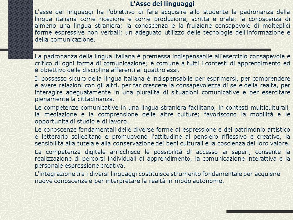 L'Asse dei linguaggi L'asse dei linguaggi ha l'obiettivo di fare acquisire allo studente la padronanza della lingua italiana come ricezione e come pro