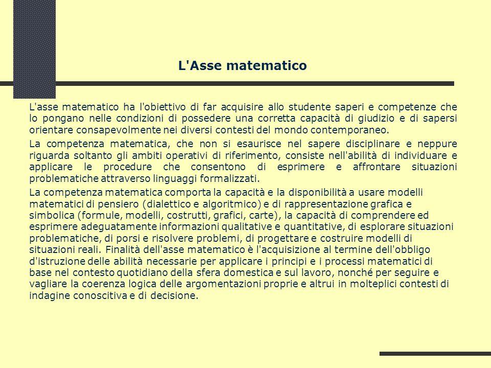 L'Asse matematico L'asse matematico ha l'obiettivo di far acquisire allo studente saperi e competenze che lo pongano nelle condizioni di possedere una