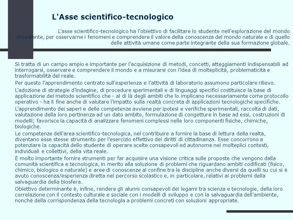 L'Asse scientifico-tecnologico L'asse scientifico-tecnologico ha l'obiettivo di facilitare lo studente nell'esplorazione del mondo circostante, per os