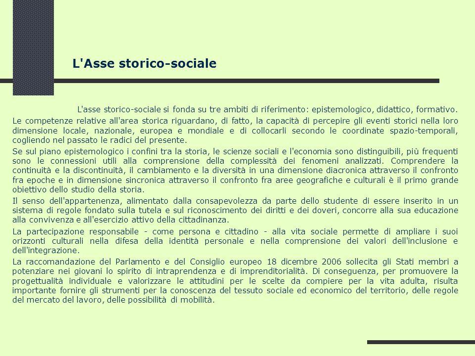 L'Asse storico-sociale L'asse storico-sociale si fonda su tre ambiti di riferimento: epistemologico, didattico, formativo. Le competenze relative all'